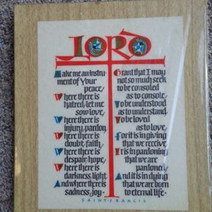 Vintage Prayer to St. Francis Wall Hanging GIFT